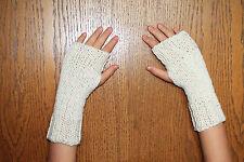 Hand Knit Fingerless Gloves- Wrist Warmers-Texting Gloves- Cream Sparkle