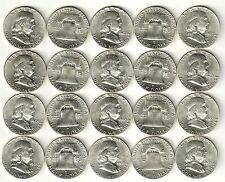 1 Roll__1963-P Franklin Half Dollar Coins__BU/UNC__90% Silver__#1338LA24