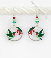 Sienna Sky Earrings - Hummingbirds in Circular Frame
