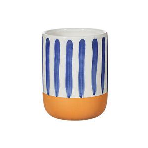 Paros Mediterenean Island Blue Stripe Design Tumbler Bathroom Toothbrush Holder