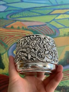 258g Antique Solid Silver Sterling 925 Embossed Bowl Porringer Sheffield 1901