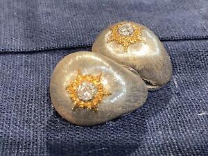 Buccellati Macri 18k whit and Yellow Gold w/ diamonds button Earrings