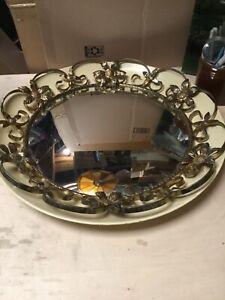 Vintage round convex mirror, metal & brass , made in England, convex wall mirror