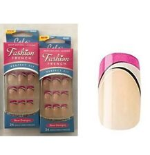 2x Set of Cala Fashion Nails Natural with Pink & White Tips #88404 Free Glue