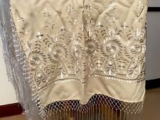 Vintage Cream Cotton & White Silk Embroidered Tasseled Shawl