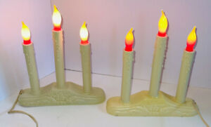 2 Vintage NOMA Christmas Window 3 Candle Lights Candelabra Plastic Decor