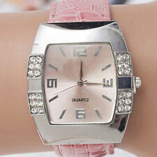 Rhinestone Square Dial Faux Leather Strap Analog Quartz Womens Wrist Watch Pink