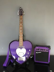 DAISY ROCK 3/4 PURPLE HEART SHAPED ELECTRIC GUITAR WITH CASE ***collect only