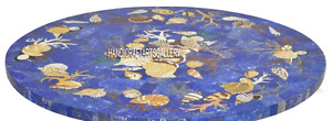 """24"""" Blue Marble Center Coffee Table Lapis Marquetry Gems Inlay Art Decors H2905"""