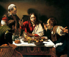 """Supper At Emmaus by Caravaggio, Hand Painted Oil Painting Reproduction 34"""" x 28"""""""