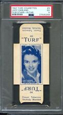 1947 TURF Cigarettes Card w/ Tab #3 JUDY GARLAND Actress The Wizard of Oz PSA 5
