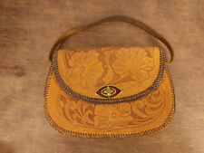 Vintage Brown Floral Hand Tooled Leather Bag Purse