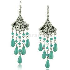 Bohemian Gypsy Turquoise Tassel Dangle Drop Earring Vintage Accessory