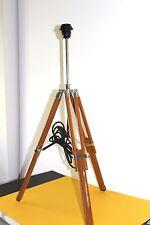 Handcrafted Vintage Tripod Table Lamp Modern Adjustable H:77cm Teakwood NEW Tall