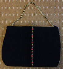 Vintage 1930s Style Black Evening Bag Handbag - FREEPOST