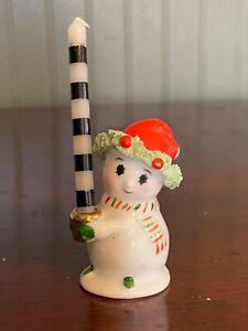 Vintage 1960's Napco Bone China Christmas Snowman Candleholder Miniature