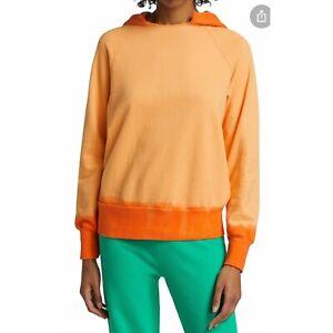 Warm Fun Boyfriend Dip-Dye Sweatshirt Size M Hodded Cotton Long Sleeves Orange