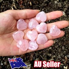 Rose Quartz Heart Shaped Pink Crystal Carved Palm Love Healing Gemstones BO