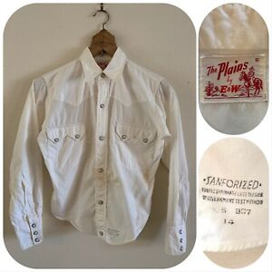 50s The PLAINS By E&W Women's SAWTOOTH Pearl Snap Western Shirt Rodeo Ranch VTG
