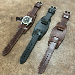 Size 20/22mm Military Army Style Cow Leather Bund Watch Strap Band #094F