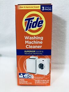 Tide Washing Machine Cleaner 3 Count Box Odor Remover Fresh Scent, New