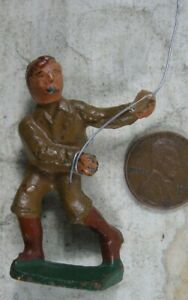 Vintage 1930's Cast Iron Gray Iron Barclay Boy Flaying a Kite
