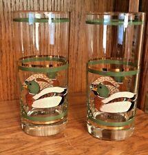 Set 2 Vintage Libbey MALLARD DUCK DECOY 22k Gold Trim Drinking Bar Glasses
