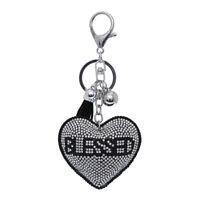 Blessed Heart Rhinestone Ornament Key Chain Handbag Charm Accessory