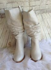 Colin Stuart Mid-Calf Leather Western High Heel Boots Ivory Size 7.5