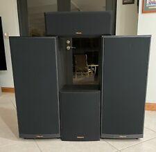 Vtg. Klipsch Speakers, Sub Woofer, 2 Standing Floor, Center Channel Great Sound