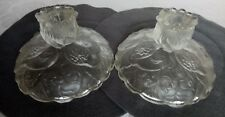 "Fenton Clear Satin ""Water Lily"" Flower Candle Holders, Pair"