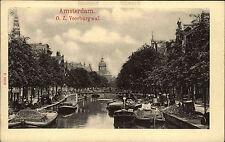 Amsterdam Niederlande Nederland AK ~1900 Voorburgwal Kanal Kanaal Boote Brücke