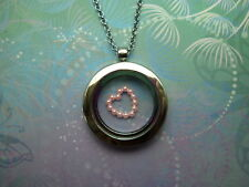 Floating Charm Locket Necklace -  Pink Frame Pearl Heart