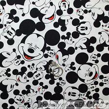 BonEful Fabric Cotton Quilt White Black B&W Red DISNEY Mickey Mouse S Sale SCRAP