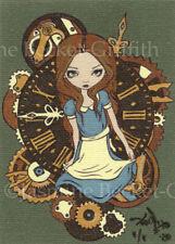 Alice in Clockwork Pin Design ACEO Jasmine Becket-Griffith art Strangeling ATC