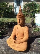 POINTED HEAD MEDITATING BUDDHA CEMENT STATUE,  Rusty Patina Stain