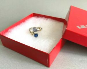 LILLY BARRACK 14k Gold & Sterling Silver Lapis & Lavender Amethyst RING Size 8 +