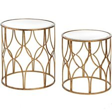 Set Of 2 Gold Side Tables Lattice Detail Food Drink Glass Nest Round Coffee End