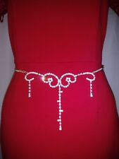 """Bodychain Necklace made with Swarovski Crystal - Silver Plated up to 43"""""""
