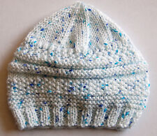 Hand knitted Baby Hat Very Pale Blue with Fleck  Newborn