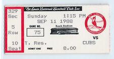 Ryne Sandberg home run ticket stub; Cubs at Cardinals 9/11/1988