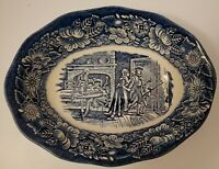 "Liberty Blue Historic Colonial Scenes MINUTE MEN 9"" Oval Serving Dish"