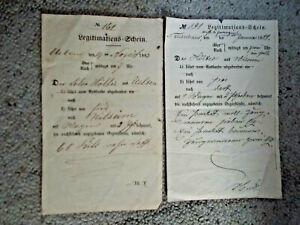 2 Dokumente: Legitimationsscheine von 1883 und 1888 Uelsen / Neuenhaus