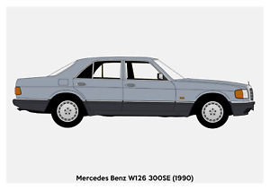 POSTER - MERCEDES W126 S-CLASS - (A4 A3 A2 sizes) Art Print Car RENDER