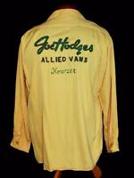 RARE VINTAGE 1940'S-1950'S YELLOW GABARDINE EMBROIDERED BOWLING SHIRT SZ MEDIUM