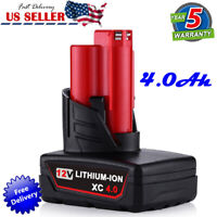 Replace For Milwaukee 48-11-2412 XC M12 4.0AH Battery 48-11-2460 LITHIUM 12Volt