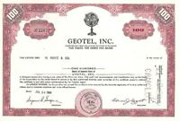 Geotel, Incorporated - Stock Certificate