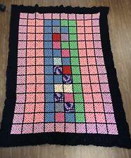 "Vintage Handmade Crochet Geometric Granny Square Afghan Blanket Quilt 65"" x 45"""
