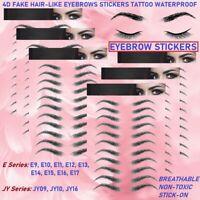 4D Hair like Stick On Authentic Eyebrows Waterproof Eyebrow Sticker Tattoo Black