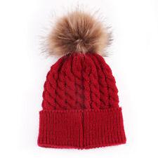 Winter Warm Women Ladies Fur Knitted Ski Pom Bobble Baggy Crochet Beanie Cap Hat